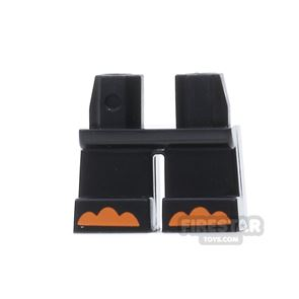 LEGO Mini Figure Legs - Short Black - With Orange Toes