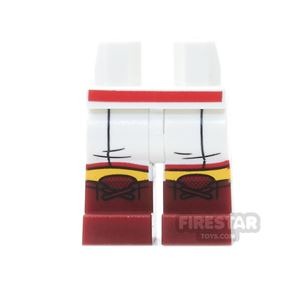 LEGO Mini Figure Legs - White Boxing Shorts, With Dark Red boots