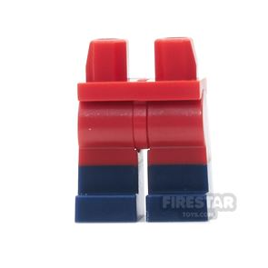 LEGO Mini Figure Legs - Red With Dark Blue boots