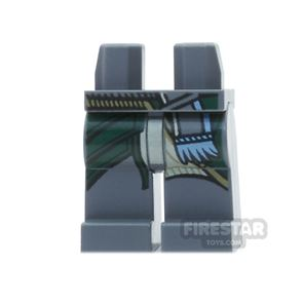 LEGO Mini Figure Legs - Dark Blueish Gray With Blue Tied Belt