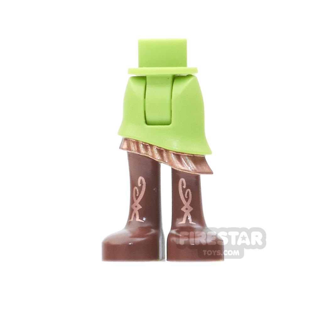 LEGO Elves Mini Figure Legs - Lime Skirt, Reddish Brown Boots
