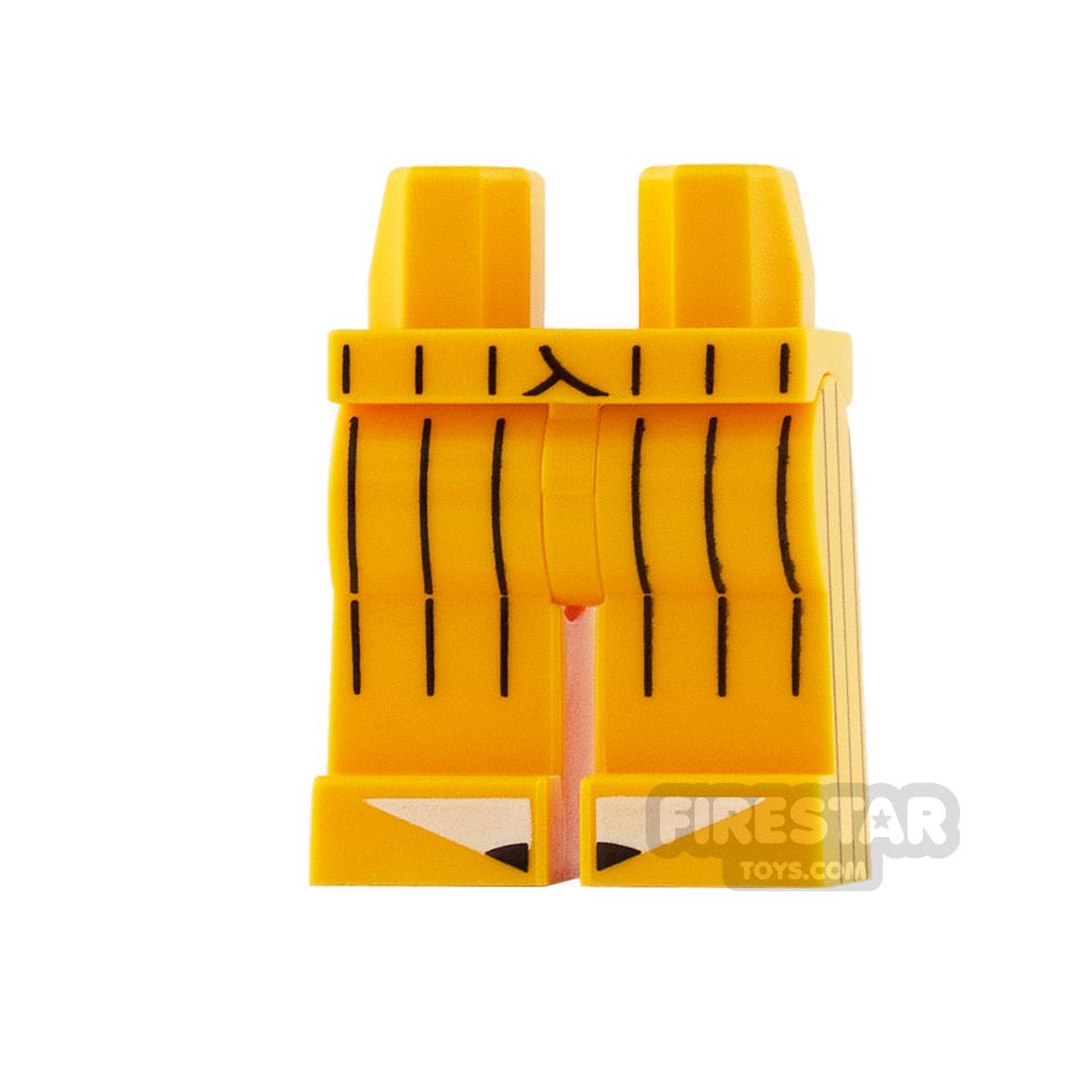 LEGO Mini Figure Legs - Bright Light Orange with Black Stripes