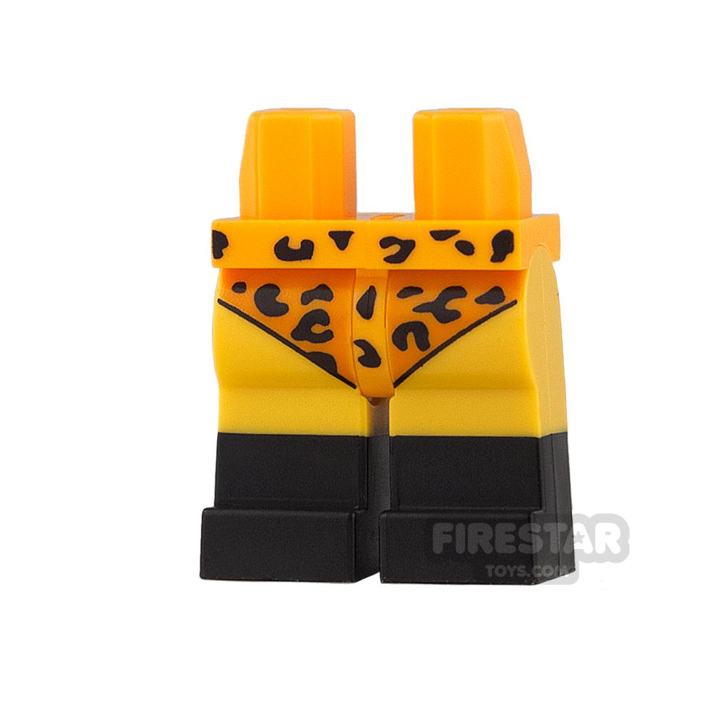 LEGO Mini Figure Legs - Bright Light Orange Leotard with Leopard Spots