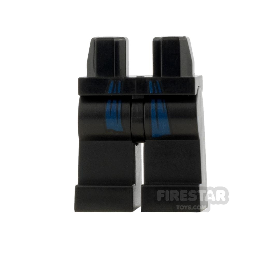 LEGO Minifigure Legs Black with Dark Blue Sash