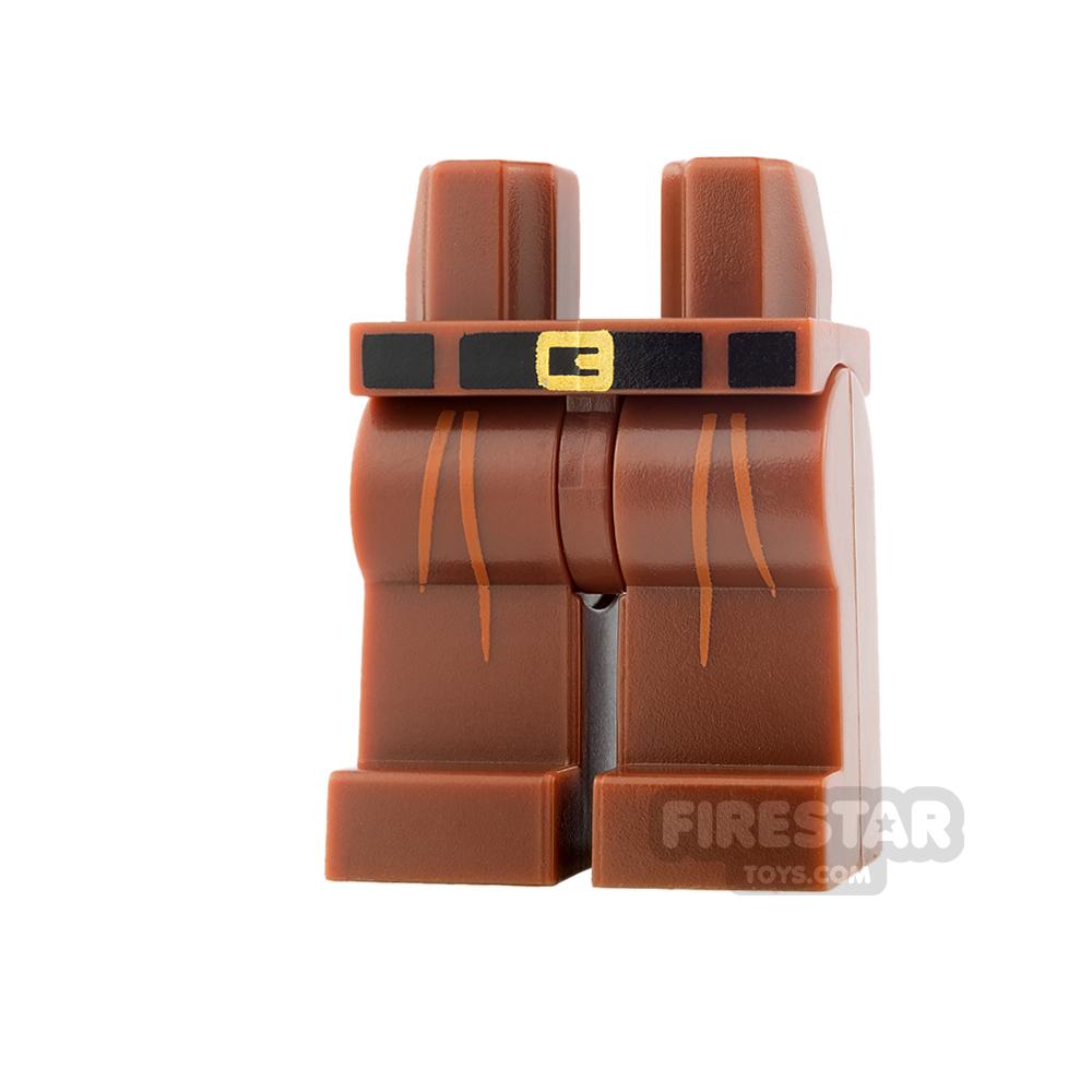 LEGO Mini Figure Legs - Reddish Brown with Pleats and Belt