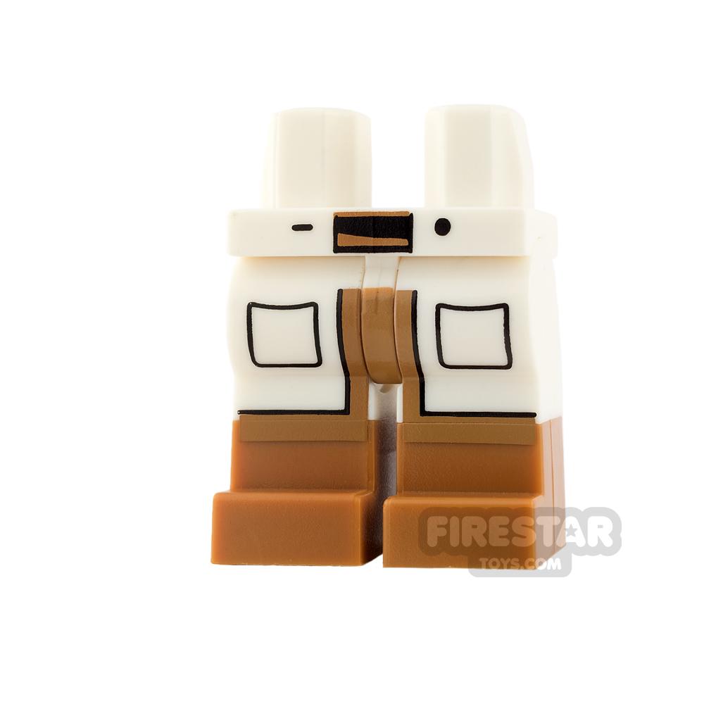 LEGO Mini Figure Legs - Lab Coat Tails with Medium Dark Flesh Boots