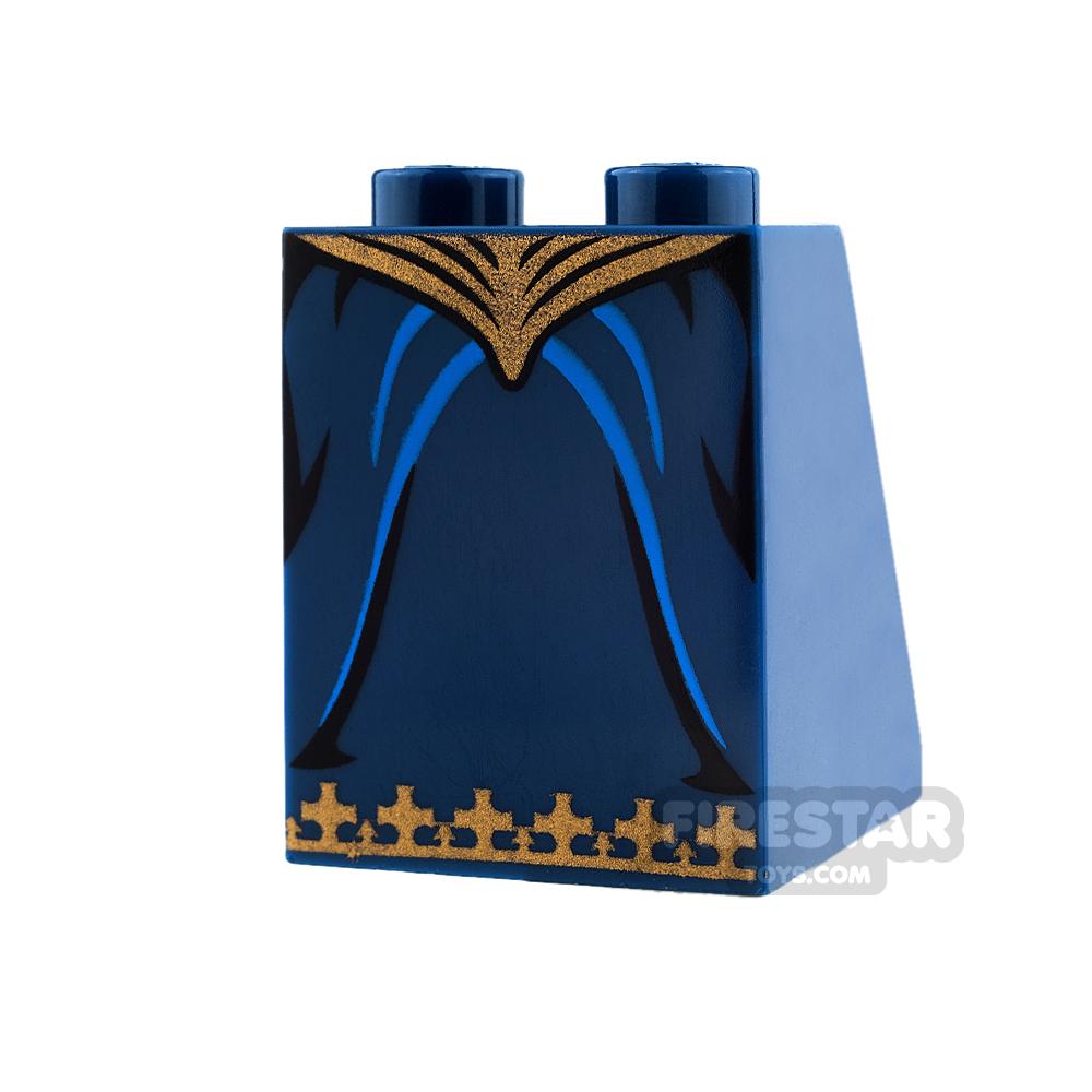 LEGO Mini Figure Legs - Dark Blue Skirt with Gold Trim and Waist