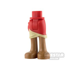 LEGO Friends Mini Figure Legs - Red Wrap Skirt with Tan Layer