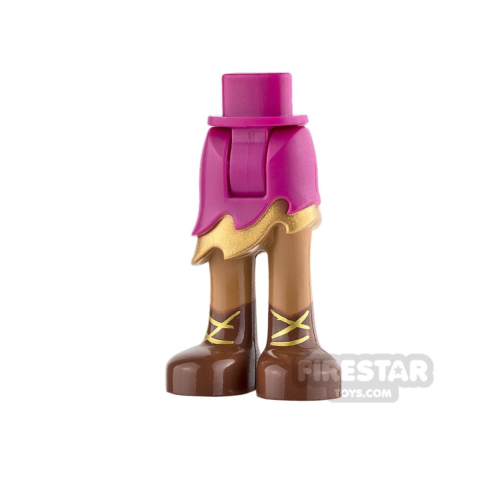 LEGO Elves Mini Figure Legs - Magenta Skirt with Gold Ruffle