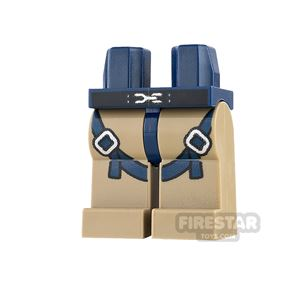 LEGO Mini Figure Legs - Dark Tan with Straps and Buckles