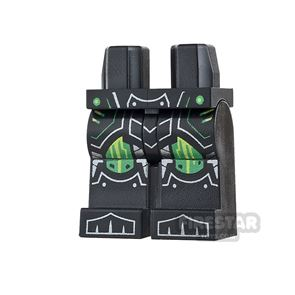 LEGO Mini Figure Legs - Black with Green Kneepads and Armour