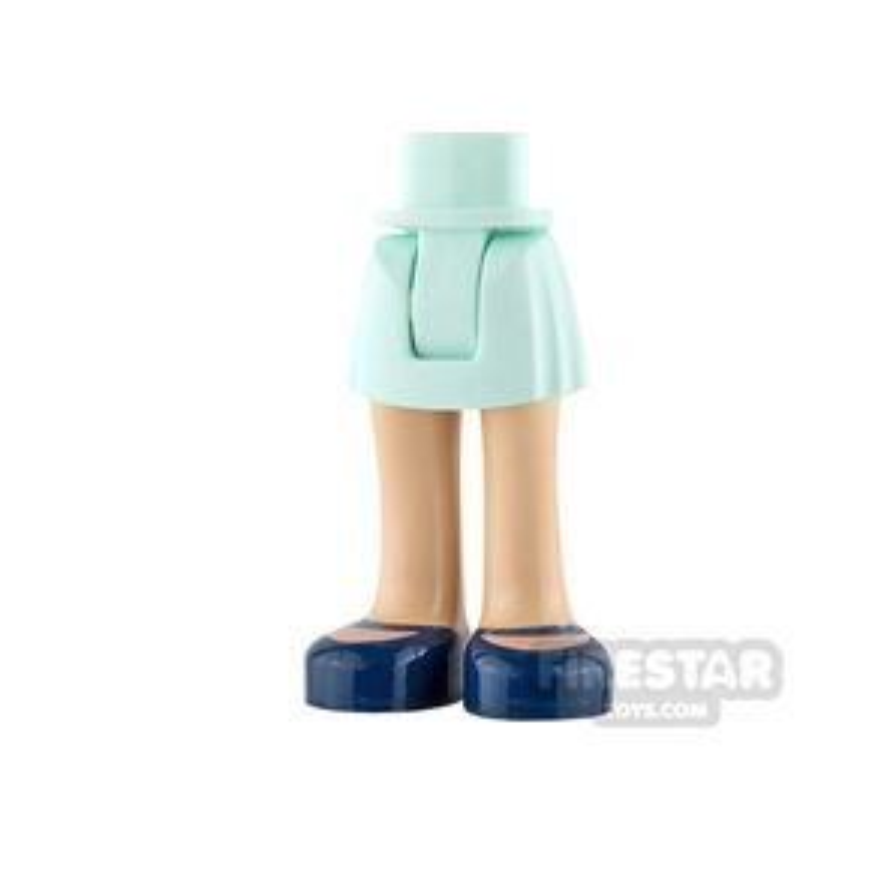 LEGO Friends Mini Figure Legs - Light Aqua Skirt with Dark Blue Shoes