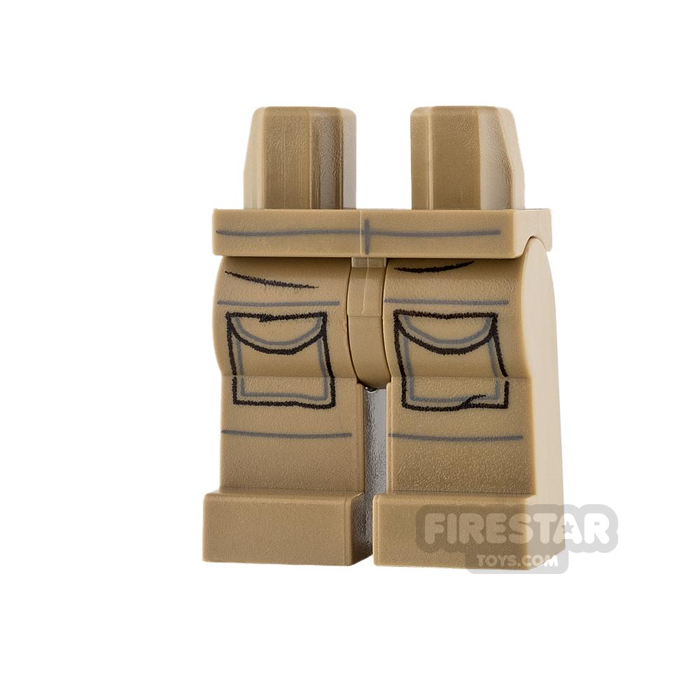 LEGO Mini Figure Legs - Dark Tan with Pockets