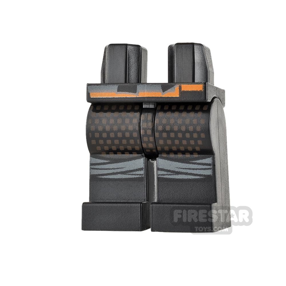 LEGO Mini Figure Legs - Black with Orange Belt and Dots
