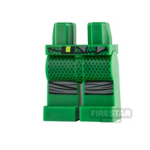 LEGO Mini Figure Legs - Green with Gray Knee Wrappings
