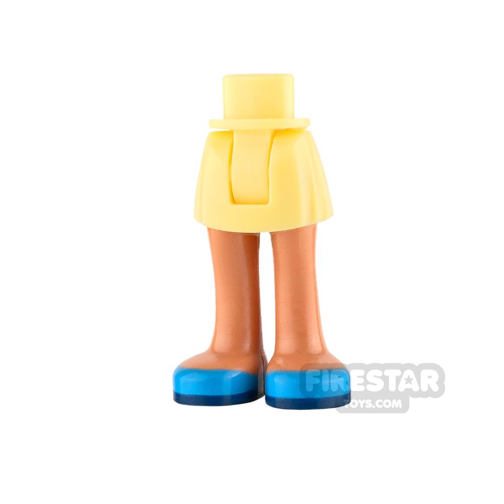 LEGO Friends Mini Figure Legs - Bright Yellow Skirt with Flesh Legs