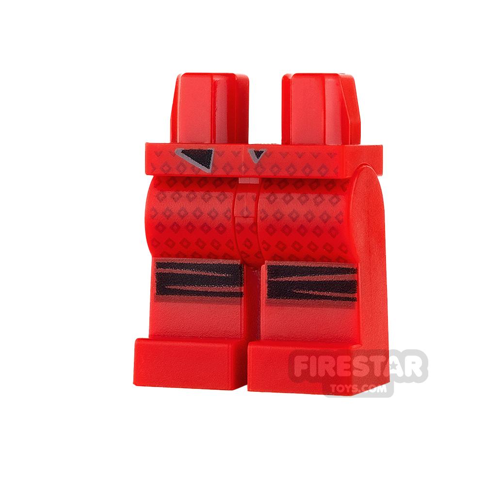 LEGO Mini Figure Legs - Dark Red Diamonds and Knee Wraps