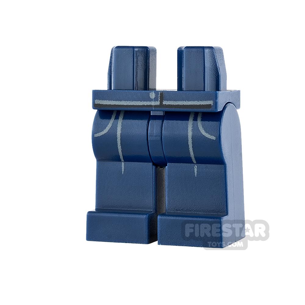 LEGO Mini Figure Legs - Dark Blue with Gray Pockets and Pleats