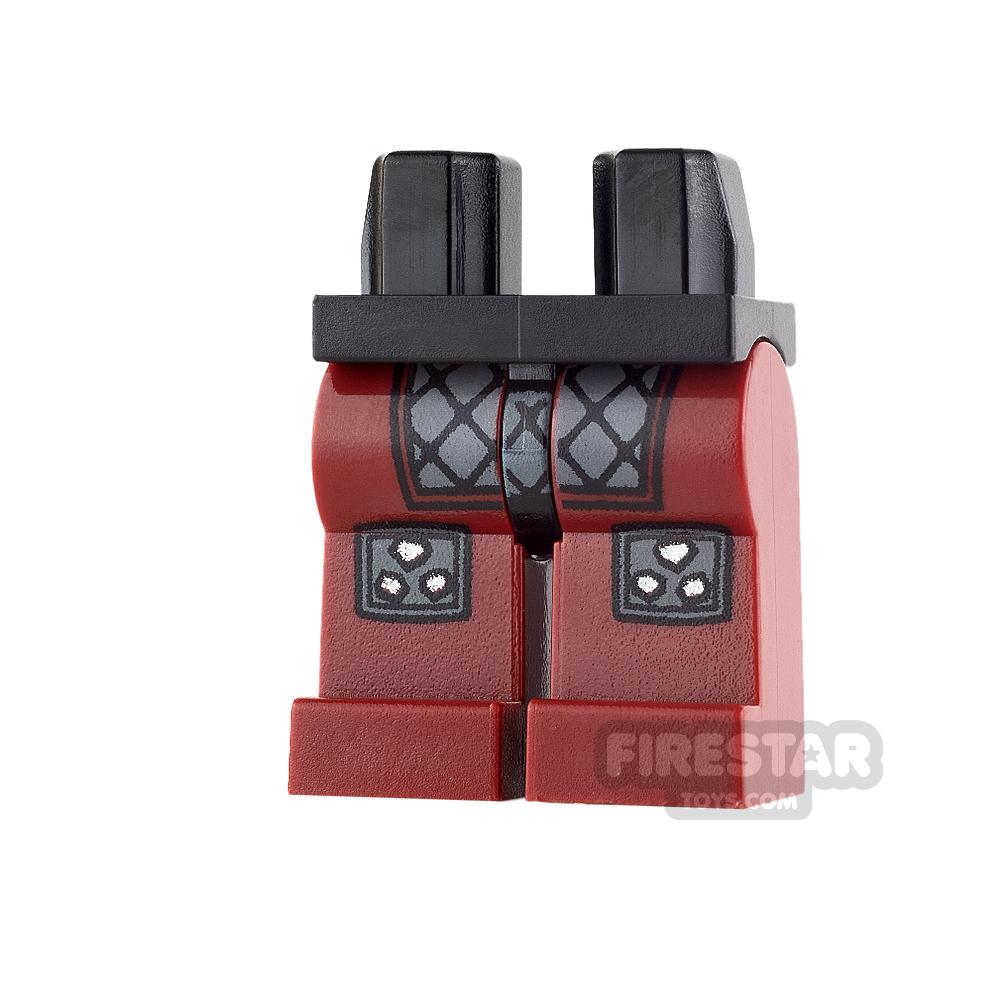 LEGO Mini Figure Legs - Dark Red with Samurai Armour & Knee Pads