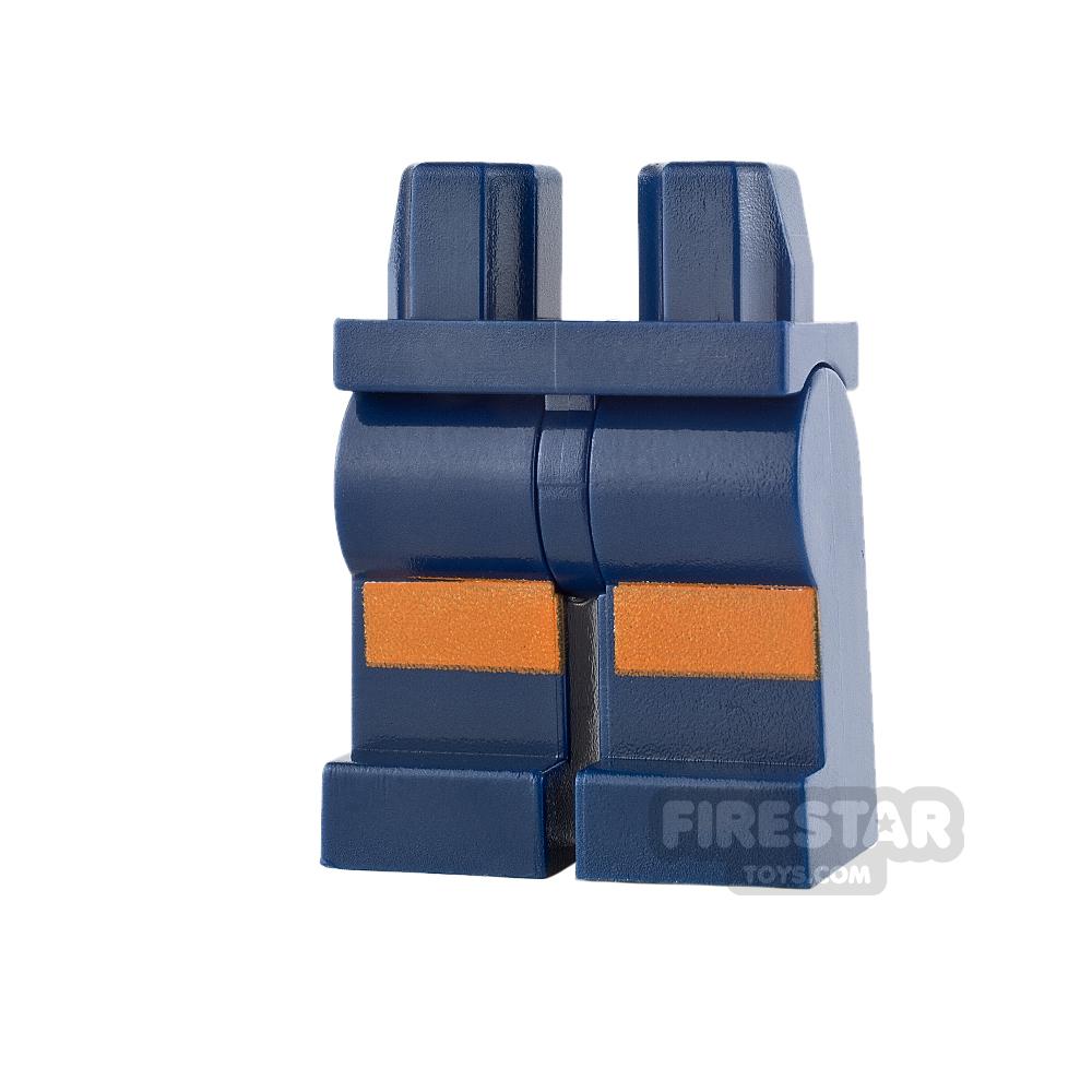 LEGO Mini Figure Legs - Dark Blue with Dark Orange Stripes