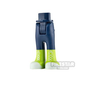 LEGO Friends Mini Figure Legs - Dark Blue with Lime Boots