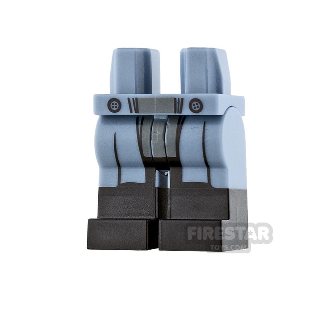 LEGO Mini Figure Legs - Sand Blue with Black Boots