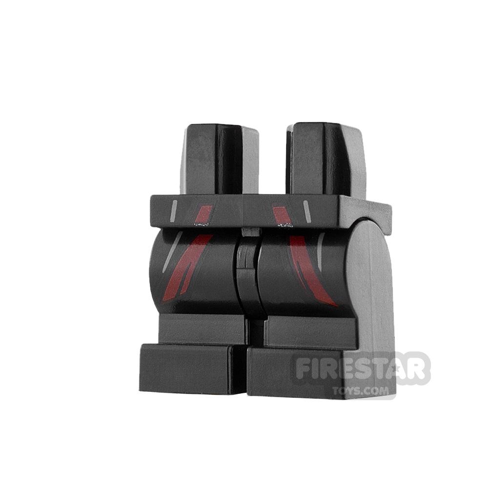 LEGO Mini Figure Legs - Medium - Black with Dark Red Robe Hem