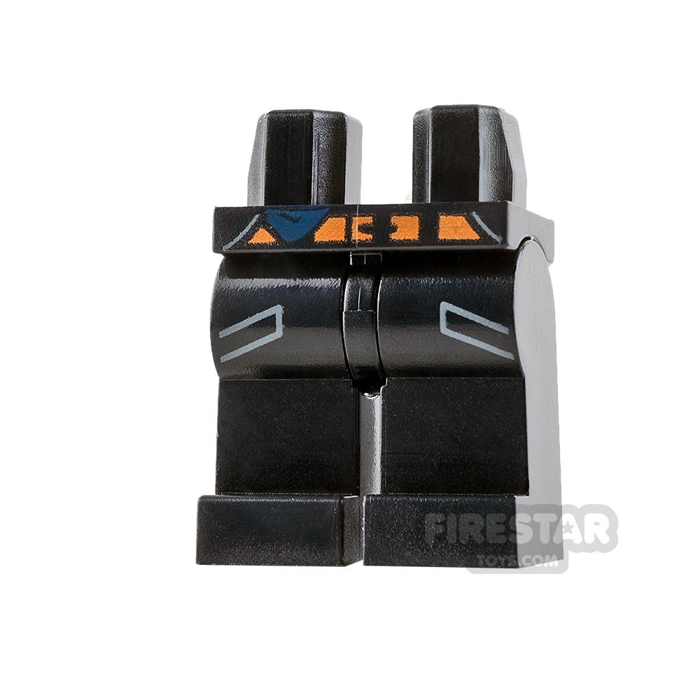 LEGO Mini Figure Legs - Black with Pockets and Orange Belt