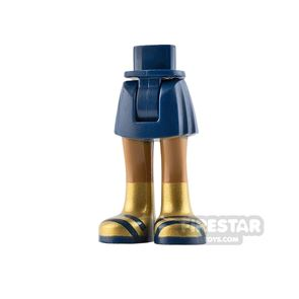 LEGO Friends Mini Figure Legs - Dark Blue Skirt with Gold Boots
