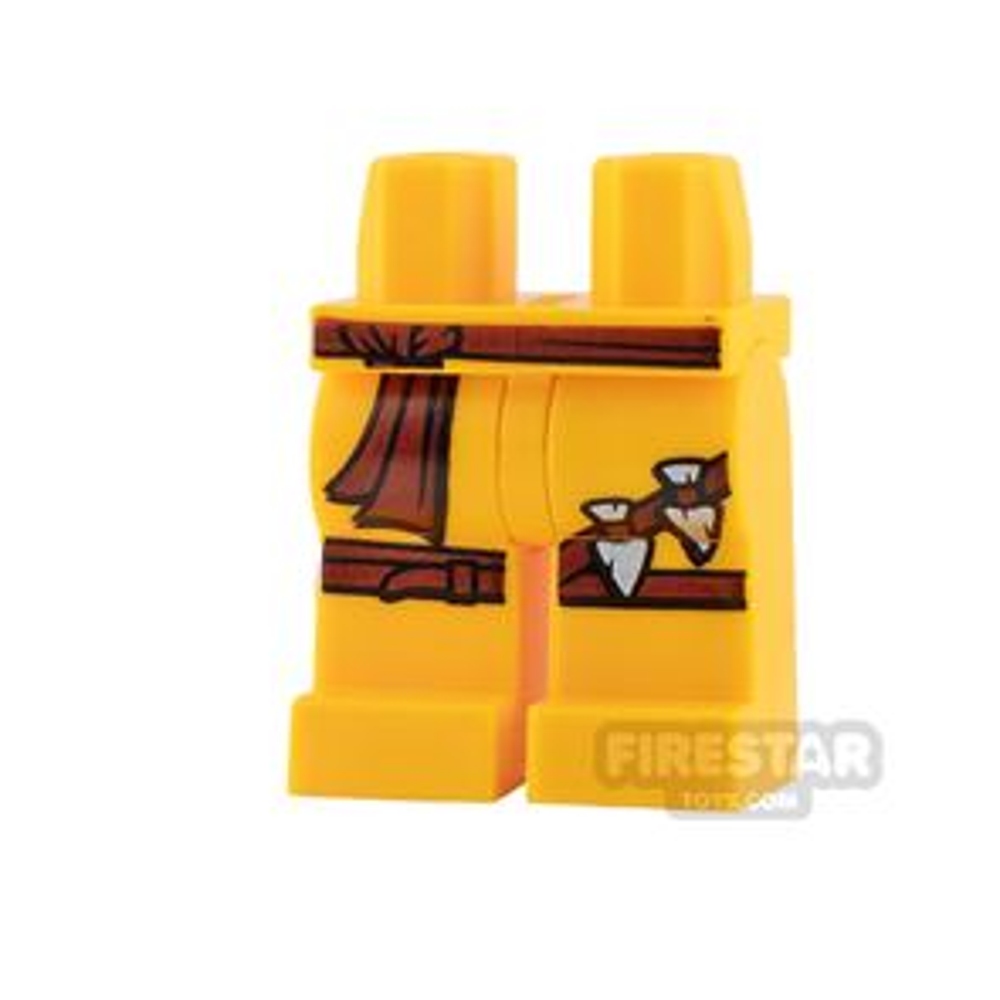 LEGO Mini Figure Legs - Dark Red Sash and Straps