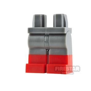 LEGO Minifigure Legs Dark Blueish Gray with Red Boots