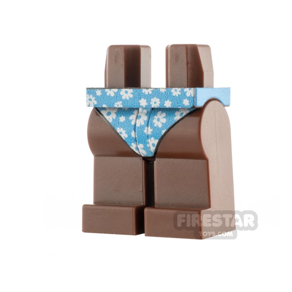 Custom Design Legs Bikini Bottoms Reddish Brown with Flowers
