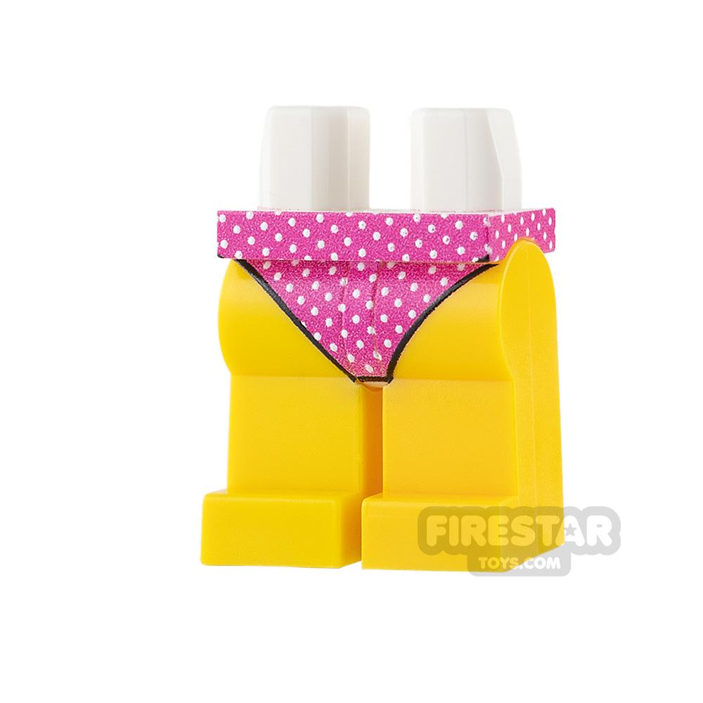 Custom Design Legs - Bikini Bottoms - Pink Spotted - Yellow