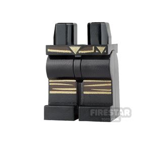 LEGO Mini Figure Legs - Black with Gold Belt and Knee Wraps