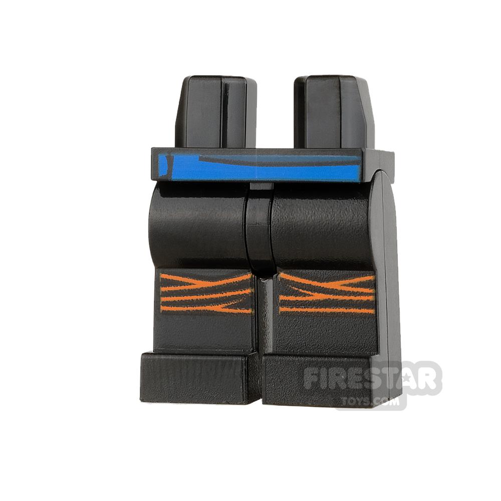 LEGO Mini Figure Legs - Black with Blue Belt and Orange Knee Wraps