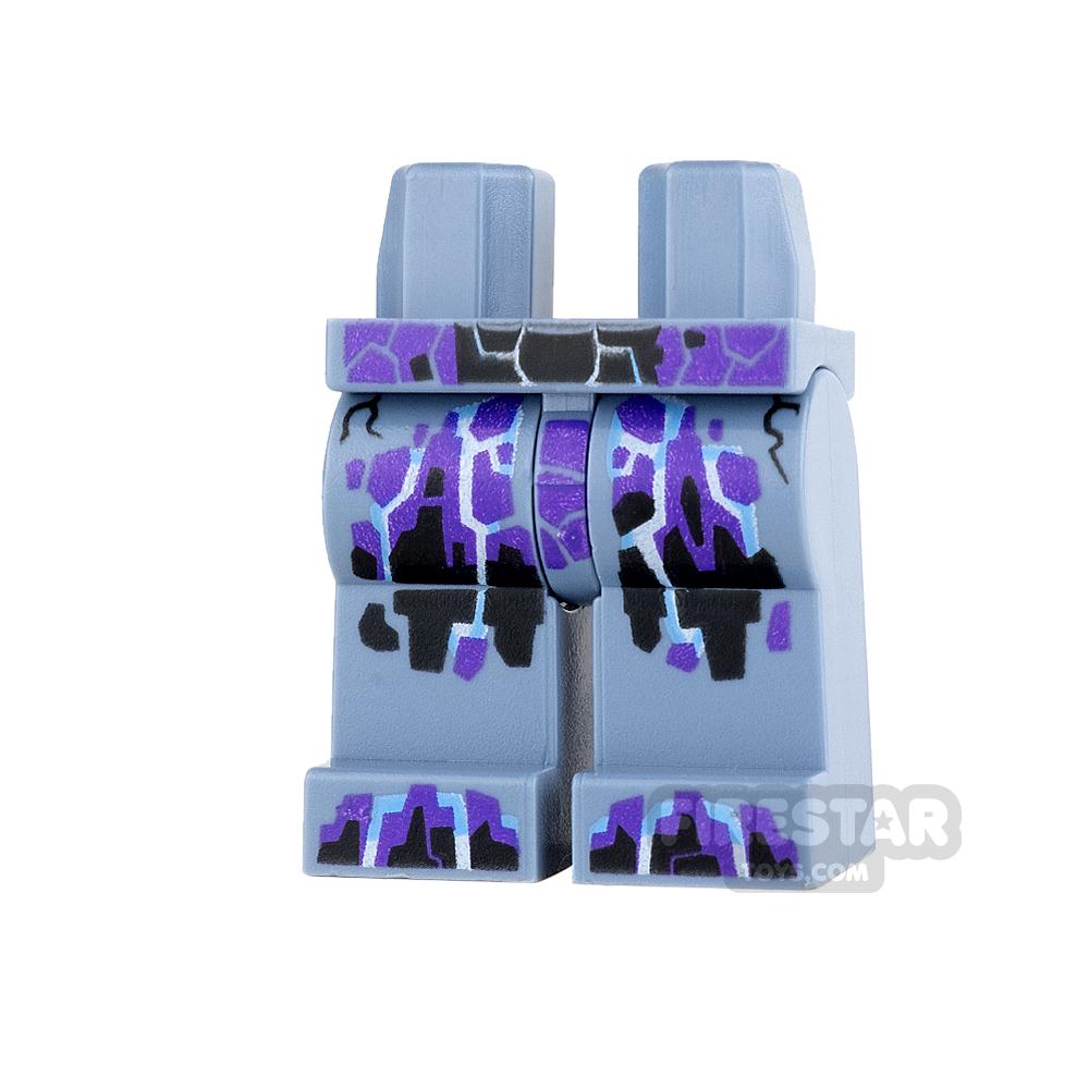 LEGO Mini Figure Legs - Sand Blue with Black and Purple Rock Veins