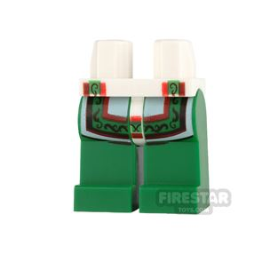 LEGO Mini Figure Legs - Green with White Robe Tails and Ornate Trim