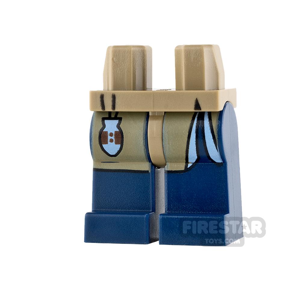 LEGO Mini Figure Legs - Dark Blue with Dark Tan Robe Tails
