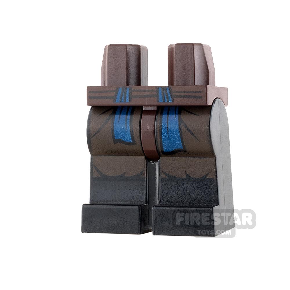 LEGO Mini Figure Legs - Black with Pleats and Blue Sash