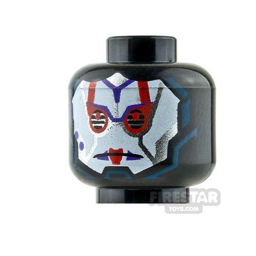 LEGO Mini Figure Heads - White Face - Purple Marks / Red Marks