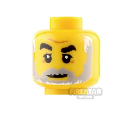 LEGO Mini Figure Heads - Gray Beard and Bushy Eyebrows