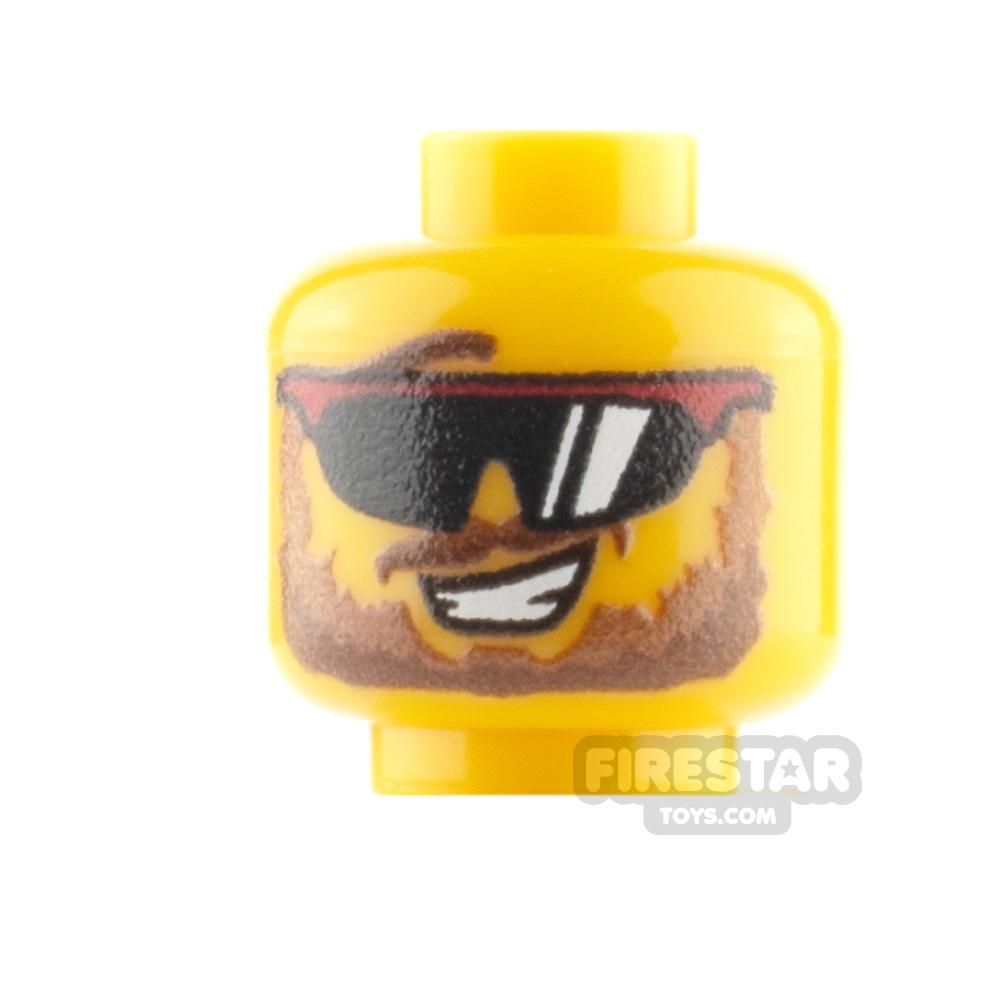Custom Minifigure Heads - Sunglasses and Beard -  Yellow