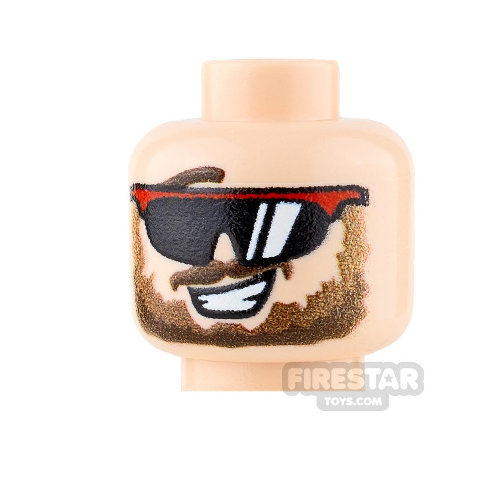 Custom Minifigure Heads - Sunglasses and Beard -  Light Flesh