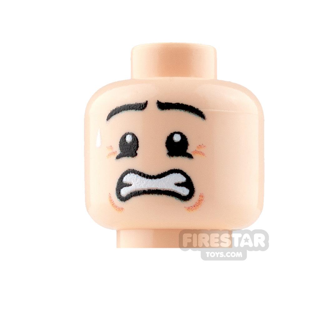 Custom Mini Figure Heads - Anxious - Male - Light Flesh