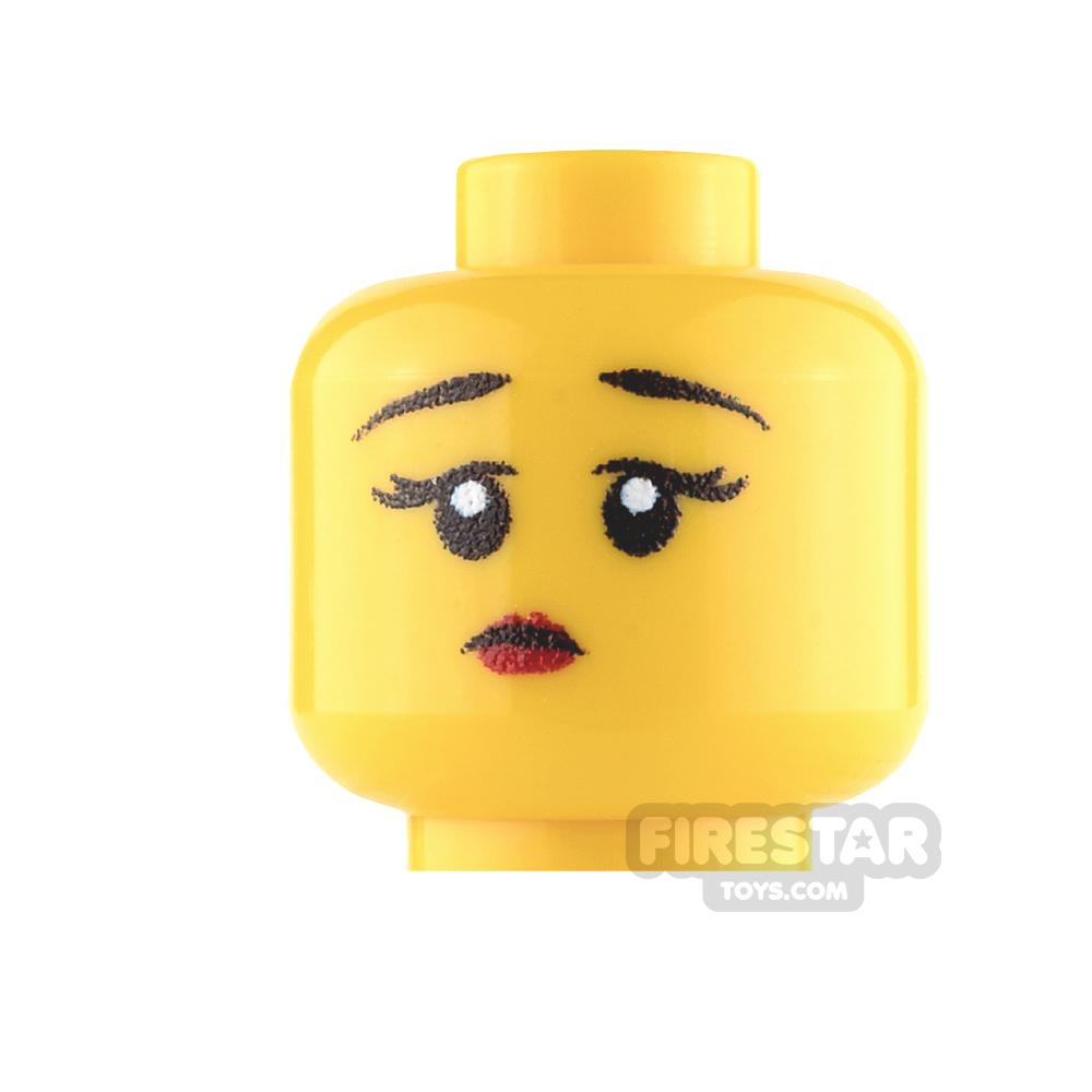 Custom Mini Figure Heads - Perplexed Girl - Yellow