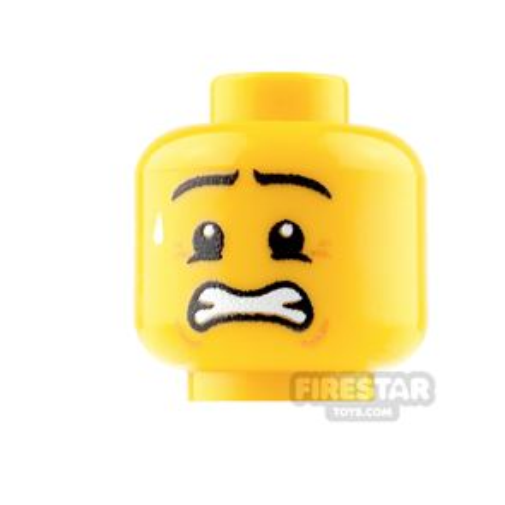 Custom Mini Figure Heads - Anxious - Male - Yellow
