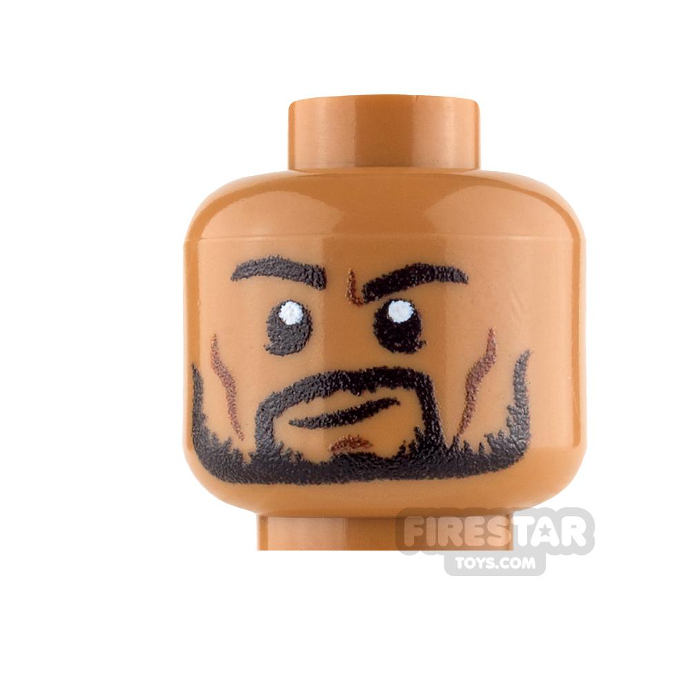 Custom Mini Figure Heads - Beard with Smile - Medium Dark Flesh