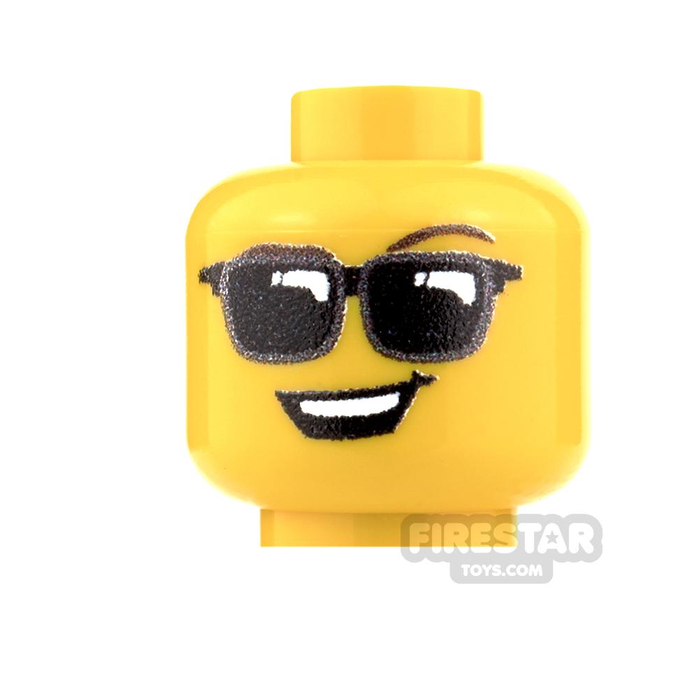 Custom Minifigure Heads - Sunglasses - Male - Yellow