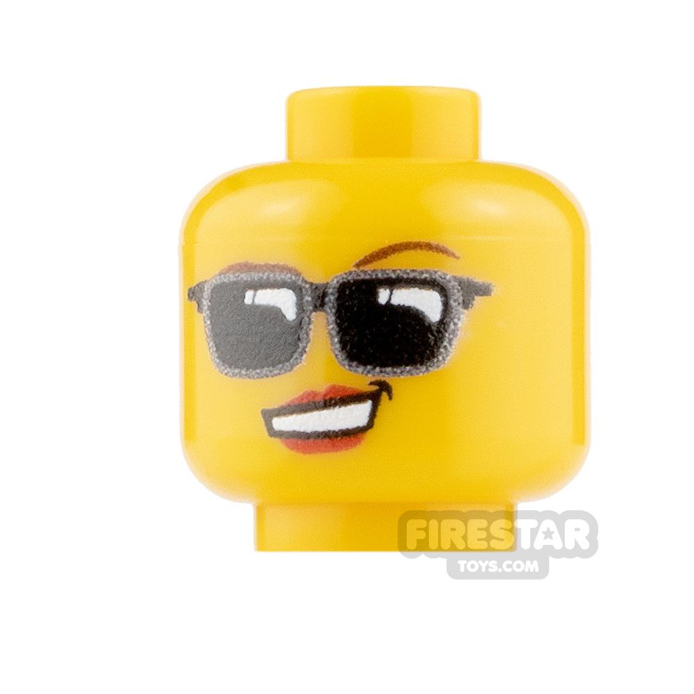 Custom Minifigure Heads - Sunglasses - Female - Yellow