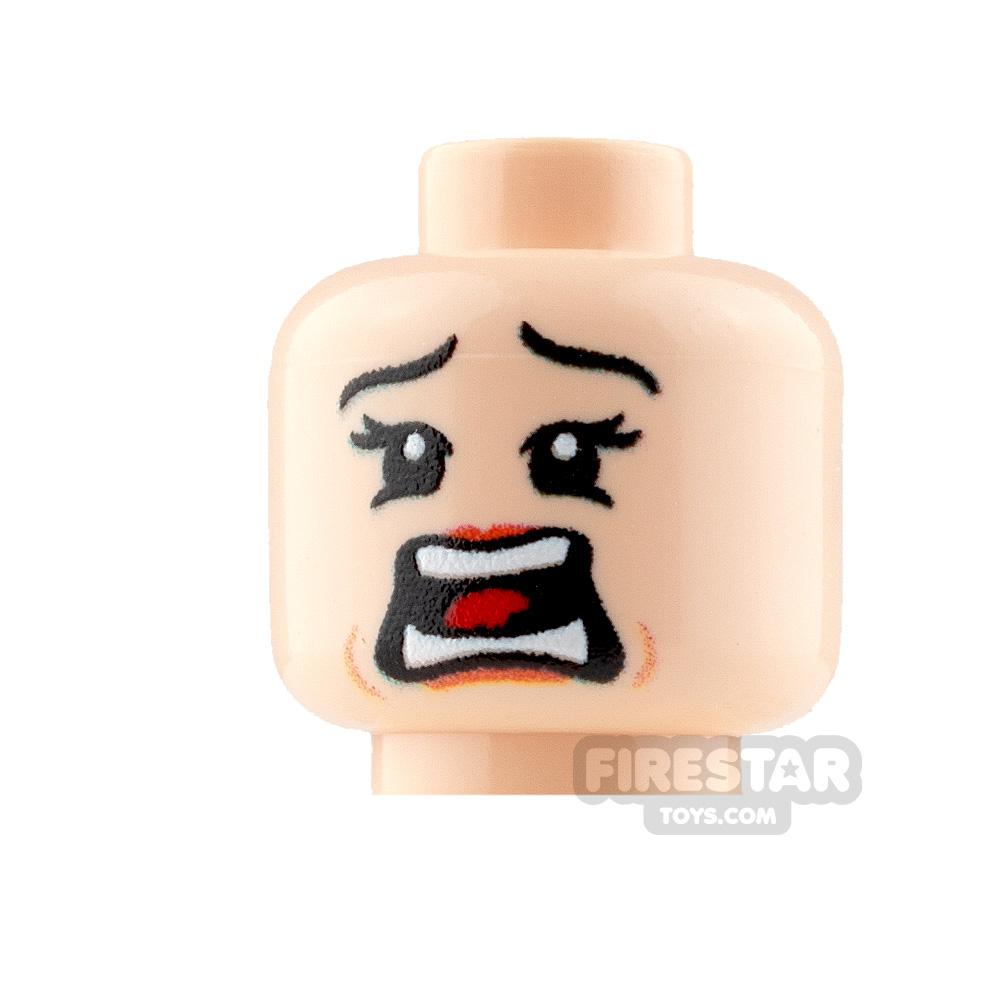 Custom Mini Figure Heads - Terrified - Female - Light Flesh